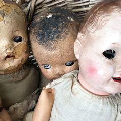 No curiosities shop is complete without a creepy doll collection. Composition dolls from the are making their way to the shop. Old Dolls, Antique Dolls, Vintage Dolls, Creepy Baby Dolls, Creepy Toys, Doll Head, Doll Face, Coraline, Layers Of Fear