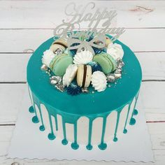 birthday cake, blue cake, drip cake