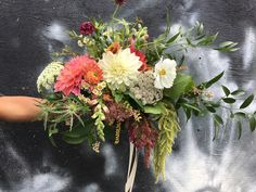 Wild bridal bouquet using Dahlias, amaranth, cosmos, thistles, chamomile and more!   Photo by @stemsbrooklyn