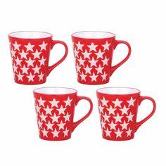 """Taza mug """"stars"""" rojo stoneware  Medidas 8.40 Cm. X 6.00 Cm. X 9.00 Cm. Color  Rojo Coleccion  """"Stars"""" Estilo  Urbano-Actual Material  Stoneware Modelo  240 Cc"""