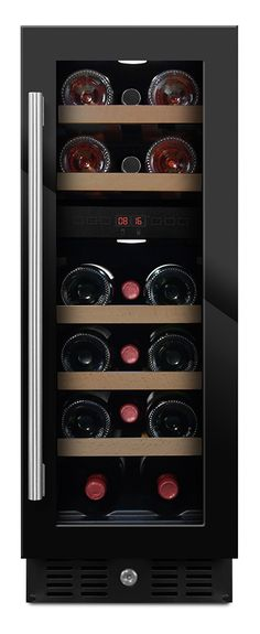 Built-in wine cooler black - 17 bottles (W: 29,5 x H: 82/89 x D: 57 cm)   Wine coolers from Winestoragecompany.co.uk