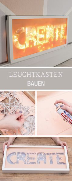 DIY-Inspiration für einen Leuchtkasten mit Typo / craft your own lightbox with . Diy Presents, Diy Gifts, Diy Luz, Cuadros Diy, Diy Lampe, Light Words, Diy Y Manualidades, Diy Inspiration, Diy Candles
