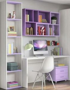 √ Most Popular Study Table Designs and Children's Chairs Today Study Desk Design In The Bedroom Home Office Design, Home Office Decor, Diy Home Decor, Office Designs, Office Ideas, Office Table, Purple Home Decor, Workspace Design, Office Chic