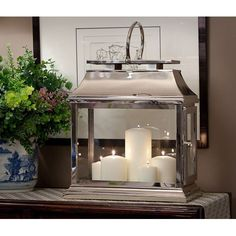 Polished Nickel Rectangular Lantern via The Beach Look. Click on the image to see more!