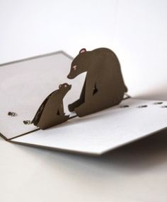 Mother's Day animal pop up card in brown and white paper