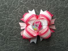 Pinky pie pony stacked bow  #cofbeads