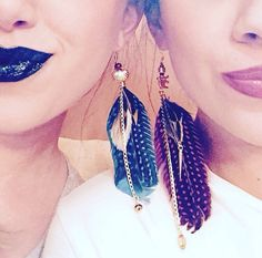 Feather earrings! #makeup #handmade #jewelry #lipstick #lips #friends #ganesh #feather #elephant #gold #black #girls #bestfriends