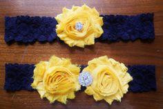 Sunflower Garter navy and yellow garter  by BloomsandBlessings