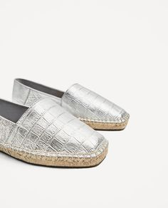 Image 7 of SILVER-TONED LEATHER ESPADRILLES from Zara