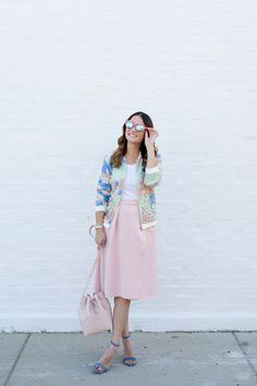 Pink midi skirt and lace bomber jacket