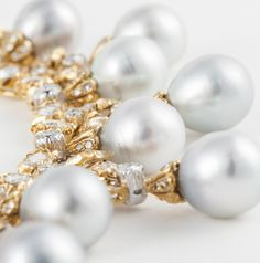 Detail: Spectacular Buccellati necklace in 18k yellow gold. It features cultured baroque pearls ranging from 10-12mm, and 11.00 carats total weight of Dutch rose cut diamonds. Via 1stdibs.