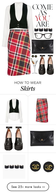 """Red Plaid Skirt"" by crblackflag on Polyvore featuring Chloé, Luigi Bormioli, Vivienne Westwood Red Label, Chanel, Jeffrey Campbell, Vivienne Westwood, Ray-Ban, Maison Margiela, preppy and chunkyshoes"