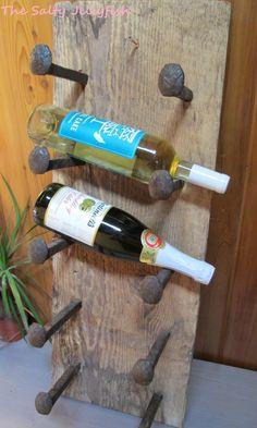 Rustic barnwood wine rack, reclaimed barnwood, railroad spikes, railroad ties, wall hanging, country decor, gift, wooden shelf, Towel Rack by TheSaltyJellyfish on Etsy