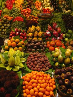 Fresh fruit stand in La Boqueria Market in Barcelona, Spain. That's it, I'm moving to Spain.
