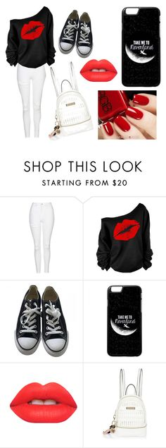 """""""Red"""" by gracie-13-d ❤ liked on Polyvore featuring Topshop, Converse, Lime Crime and River Island"""
