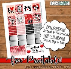 CDB Planner Prints: Mickey & Minnie Love