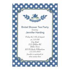 Chic Polka Dot Bridal Shower Tea Party Invitation #bridalshower