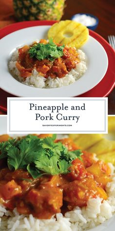Pineapple Pork Curry is a homemade curry recipe using fresh herbs and spices, tender pork, sweet pineapple, tomatoes and citrus for an amazing curry! Pork And Apple Recipe, Pork Curry Recipe, Curry Recipes, Pork Recipes, Cooking Recipes, Curry Dishes, Pork Dishes, Dinner Entrees, Dinner Dishes