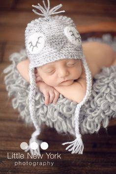 Little snow owl hat in newborn size. by BabiesRepublic on Etsy, $22.00