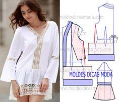 Faça a leitura da transformação de molde de túnica branca com rigor. Imprima o molde base de blusa e faça a gradação para o seu tamanho.