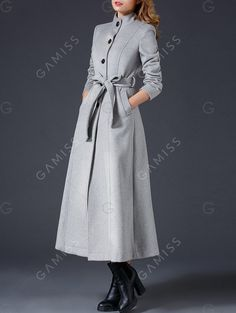 Maxi Skirted Wool Coat With Belt - GRAY XL