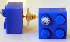 Dark Blue LEGO R brick 2x2 with a Blue by MademoiselleAlma on Etsy, $12.99 #LEGO...would wear this everyday!