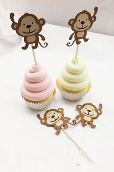 Monkey Cupcake Toppers  Baby Girl  Baby Shower Decor by FioriBelle