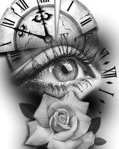 Rose Drawing Tattoo, Tattoo Sketches, Tattoo Drawings, Skull Tattoos, Animal Tattoos, Hand Tattoos, Clock Tattoos, Tattoo Sleeve Designs, Flower Tattoo Designs