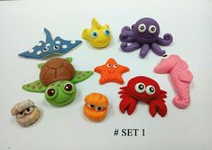 9 pcs Under the Sea Octopus Crabs Turtle Fish fondant cake toppers. Fondant Cake Toppers, Fondant Figures, Fondant Cakes, Cake Decorating Techniques, Cake Decorating Tips, Clay Projects, Clay Crafts, Ocean Birthday Cakes, Marzipan