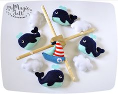 Crib mobile nautical nursery Baby mobile whales by MyMagicFelt