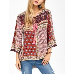 Tassel Retro Print High Low Long Top ($21) ❤ liked on Polyvore featuring tops, tassel top, red top, retro tops and long tops