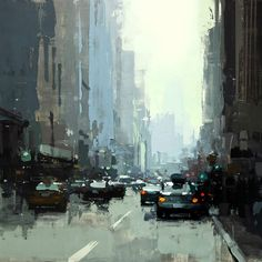 """5th Ave. Midday in Blue"", by Jeremy Mann. Oil Painting."