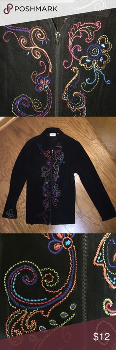 Chicos travelers acetate zipper blouse cardigan 1 Whimsical, the colors are great! Perfect condition except for on the top layer near the bottom is a tiny hole not noticeable when you are wearing it. Size 1 Chico's Tops Blouses
