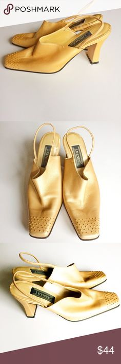 J. Renee gold leather slingback studded mules Make an offer! No trades. Bundle and save - I'm a fast shipper! j. renee Shoes Mules & Clogs
