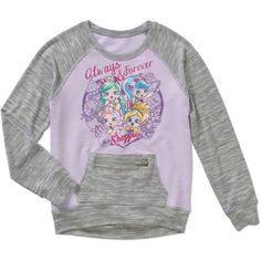 Shopkins Girls' Shoppies Always 4ever Long Sleeve Hacci Crew Neck with Front Kangaroo Pocket, Purple