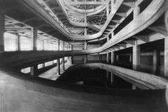 Lingotto Fiat Works building, 1923 - one of two spiral drives up to the roof top race track. Futurist architecture landmark.