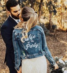 In love with these jackets ☺️☺️ Is anyone planning to do a wedding denim jacket? Denim Wedding, Wedding Jacket, Boho Wedding, Wedding Engagement, Dress With Jean Jacket, The Knot, Winter Bride, Team Bride, Marie