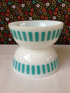 Hazel Atlas  Cereal Bowls  Milk Glass  Turquoise by nddevens, $18.00