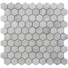 "Hexagon 12"" x 12.5"" Carrara Natural Stone Blend Mosaic Tile in White"