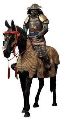 Horse armor (bagai) with horse mask (bamen) and horse tack (bagu) Early to mid-Edo period, 17th–18th century. Leather, gold, fabric, wood, horsehair, and lacing. Armor of the tatehagidō type (tatehagidō gusoku), Early Edo period, 17th century. Iron, leather, gold, and fur. Photograph by Brad Flowers. © The Ann & Gabriel Barbier-Mueller Museum, Dallas.Courtesy, Museum of Fine Arts, Boston.