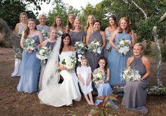 Gray and blue mixed bridesmaid dresses.