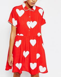 Image 3 of Lazy Oaf Button Front Shirt Dress With All Over Heart Print Dress Outfits, Casual Dresses, Cool Outfits, Little Fashion, Cute Fashion, Dress Skirt, Dress Up, Shirt Dress, Clothes Rail