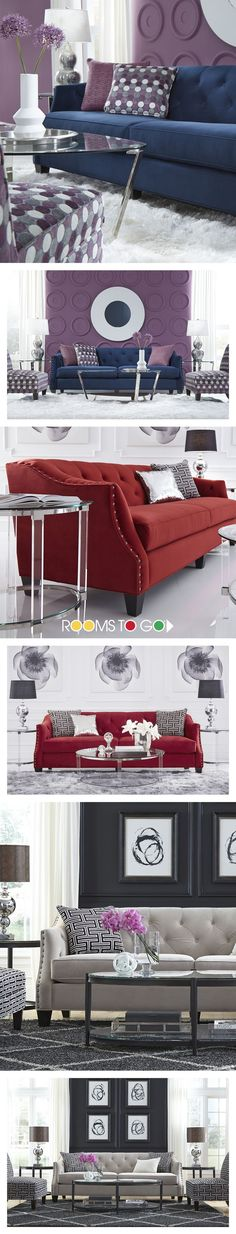 Luxurious fabrics and colorful sofas are the perfect place to start when creating a well designed living room. Add in pillows, vases with flowers, wall decor and other accent pieces to tie the entire room together. Visit Rooms To Go to choose from our large selection of living room furniture today!