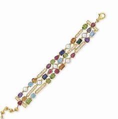 A DIAMOND, CULTURED PEARL AND MULTI-GEM BRACELET, BY BVLGARI - Designed as a a three-row band of cultured pearls with cabochon and faceted gemstones, including tourmalines, citrines, peridots, amethysts and aquamarines, spaced by circular-cut diamond links, mounted in 18k gold, 8 ins, length adjustable - Signed BVLGARI