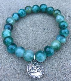 Moss Agate Bracelet with ohm pendant by MyOhmStyle on Etsy