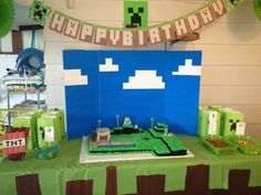 Photo 1 of Minecraft Birthday Party / Birthday & Minecraft Party, Minecraft Birthday Decorations, Minecraft Classroom, Minecraft Ideas, Minecraft Houses, 6th Birthday Parties, Birthday Fun, Birthday Ideas, Cumple Toy Story