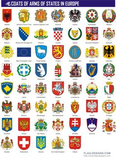 Coats of Arms of States in Europe - vector clipart, vector images Templer, European History, Asian History, Tudor History, British History, Flags Of The World, Vector Clipart, Knights Templar, Family Crest