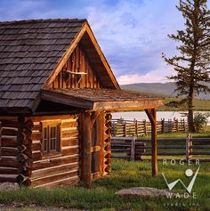 rustic architecture & design, guest cabin of Centennial Ranch with picnic table setting and horses