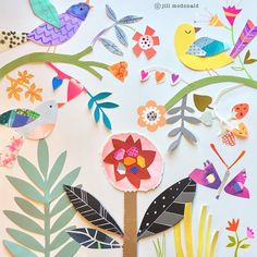 "243 gilla-markeringar, 14 kommentarer - Jill McDonald (@missjillmcdonald) på Instagram: ""Paper garden... no water needed.🌼 #cutpaperart #garden #flowers #birds #illustration…"" Jill Mcdonald, Kids Rugs, Birds, Paper, Illustration, Flowers, Crafts, Handmade, Inspiration"