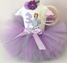 A personal favorite from my Etsy shop https://www.etsy.com/ca/listing/277356256/sofia-the-first-birthday-outfit-1st